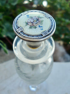 Antique Art Deco Sterling Silver Guilloche Dauber Etched Crystal Perfume Bottle