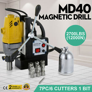Md40 Magnetic Drill Press 7pc 1 Hss Cutte Set Drillings Switchable Precise