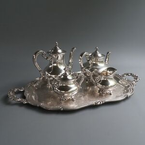 Reed Barton Regent Silver Plate Tray Tea Coffee Pot Sugar Bowl Creamer 6p Set