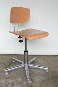 Kavo Ewl Adjustable Work Stool Dental Chair Plywood Wood Aluminum Rolling