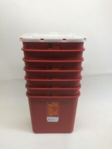 Sharps Disposable Biohazard Container 2 Gallon Red 8970 7 Cans 1 Lid
