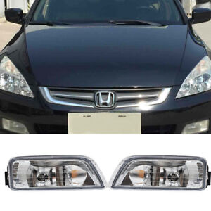 Pair Clear Bumper Driving Fog Light Kit For Honda Accord 4dr Sedan 2003 2007 Us