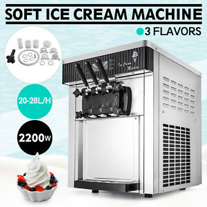 Commercial Soft Ice Cream Machine Mix Flavor Shop Frozen Automatic 20 28l h