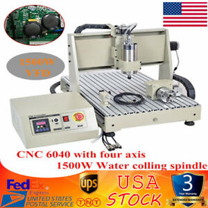 4 Axis 6040 Cnc Router Engraver Engraving Mill Drill Vfd Spindle Machine 1500w
