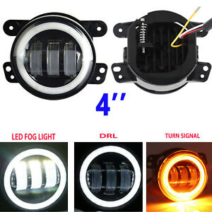 4inch Round Led Fog Lights Halo Angel Driving Lamp For Jk Tj Jeep Wrangler 97 17