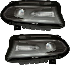 Hid Headlights Headlight Assembly W Bulb New Pair Set For 15 18 Dodge Charger