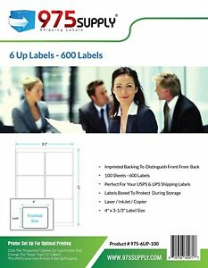 975 Supply Shipping Labels For Inkjet laser 6 Up 4 X 3 1 3 600 Labels pack