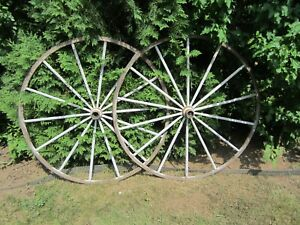 Antique 1800 S Hand Made Wood 14 Spokes Wagon Wheel Cast Iron Rim Hub Large