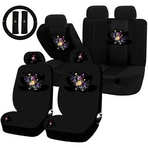 22pc Flower Splash Wild Flower Bouquet Seat Covers Steering Wheel Set Universal