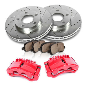 Front Red Brake Calipers And Rotors Pads 1999 2000 2001 Ford Mustang Cobra