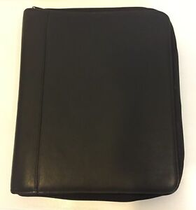Day Timer Portfolio Binder Zip Folder Soft Genuine Leather Black Classic 3 Ring