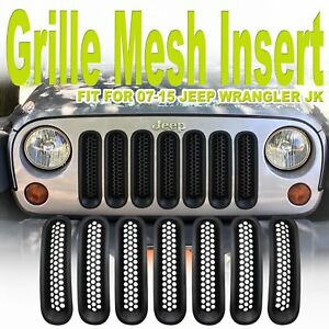 7 Pcs Jeep Wrangler Jk 07 15 Mesh Grill Inserts Front Matte Black Clip In