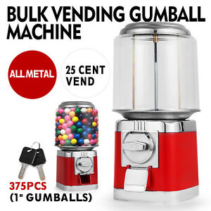 Bulk Vending Gumball Machine Candy Shatter Resistant Accepts Quarters Only