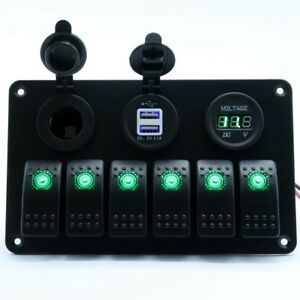 6 gang Waterproof Circuit Switch Panel Car Marine 12 24v Usb Charger Voltmeter