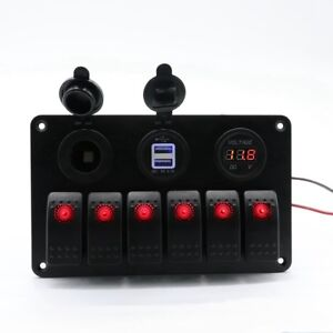12 24v 6 gang Waterproof Circuit Blue Led Rocker Switch Panel Breaker Marine Car