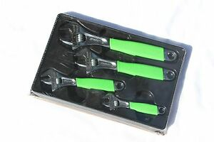 Snap On Tools Green Adjustable Wrench Set 4pc Flank Drive With Cushion Grips