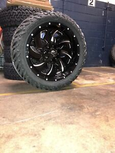 22x10 D574 Fuel Cleaver Wheel And Tire Package 35 Fuel Mt 5x5 Jeep Wrangler Jl