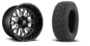 22x12 D611 Fuel Stroke Black Wheel And Tire Package 33 Fuel Mt 6x5 5 Chevy Gmc
