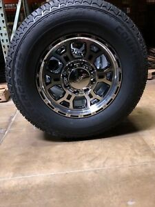 17 Black Machined Vision Raptor Wheels 265 70 r17 Tires 6x5 5 Toyota Tacoma
