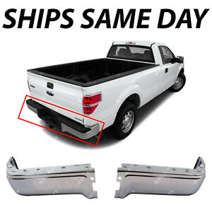 New Chrome Steel Rear Bumper Face Bar Ends 2 piece Set For 2009 2014 Ford F150
