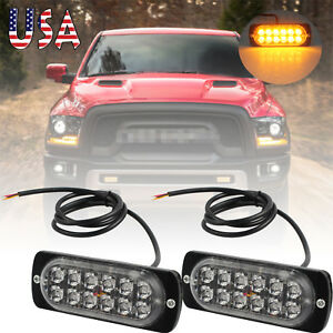 Pair Car Emergency Amber Led Warning Flashing Strobe Light Bar Hazard Grill Lamp