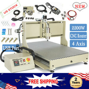 4axis Usb 2 2kw Cnc 6090 Router Engraver Drill Machine 3d Carving Cutter Desktop