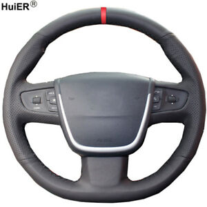 For Peugeot 508 Breathable Car Styling Hand Sewing Car Steering Wheel Cover