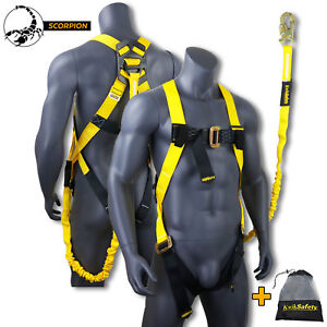 Kwiksafety Scorpion Ansi Fall Protection Safety Harness With 6ft Safety Lanyard