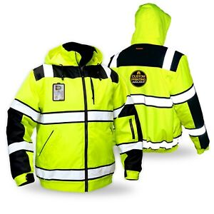Kwiksafety Enforcer Ansi Reflective Class 3 Fishbone Style Bomber Safety Jacket