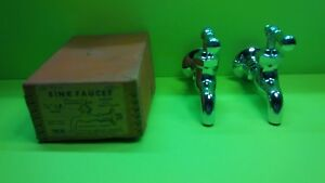 Vintage N O S Chrome Sink Faucet Wolverine Brass One Pair