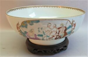 Rare Mid 18th C Chinese Export 11 Punch Bowl Judgment Of Paris C 1750 Antique