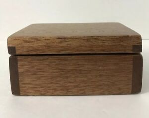 Vintage Cherry Wood Carved Signed Box Chest Inlay Design Lined