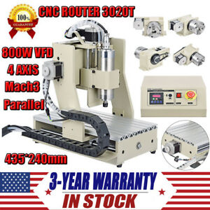 4 Axis Cnc Router Engraver Kit 800w Desktop Wood Carving Engraving Machine 3020