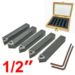 Hfs r 5 Pieces 1 2 Mini Lathe Indexable Carbide Insert Tool Bit Set