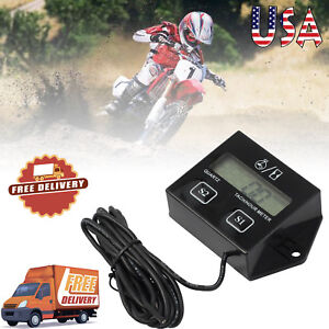Digital Lcd Tach Hour Meter Engine Tachometer Gauge For Motorcycle Racing Us
