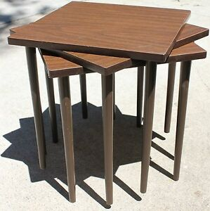 3 Mid Century Modern Mcm Stacking Nesting Tables Square Laminated Top