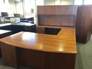 Executive Bow Front U shape Desk W Hutch By Ofs Office Furniture In Cherry Wood