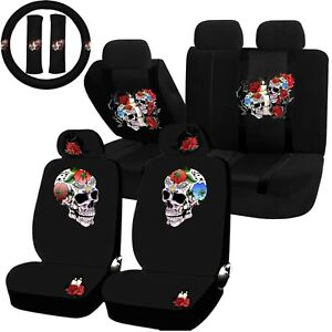 22pc Till Death Skull Red Rose Seat Covers Steering Wheel Set Universal Car Suv