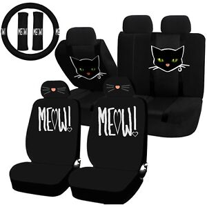 22pc Cat Lover Cute Friendly Pet Meow Seat Covers Steering Wheel Set Universal