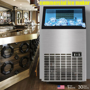 Us Commercial Ice Maker Ice Cube Machine Ice Machines Restaurant Stainless Steel