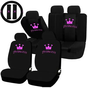 22pc Princess Crown Pink Black Seat Covers Steering Wheel Set Universal Car Suv