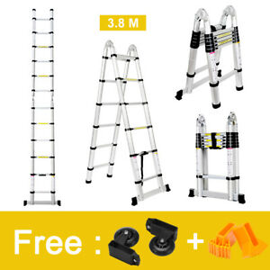 12 5ft Multi purpose Aluminum Fold Telescopic Telescoping Extension Step Ladder