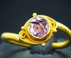 Ancient Ruby Intaglio Signet Pretty Kind White Witch Pure Solid 22k Gold Ring