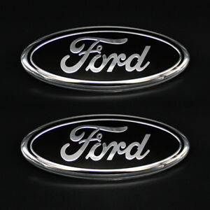 2 For Ford F150 F250 Logo 9inch Black Oval Front Grille Rear Tail Gate Emblem