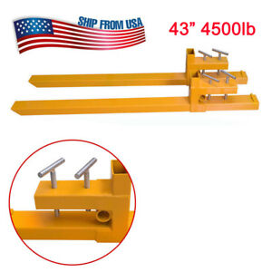 Clamp On Pallet Fork Loader Bucket Skid Steer Tractor 4500lb Capacity Heavy Duty