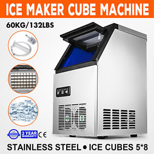60kg 132lbs Commercial Ice Cube Making Machine Heat Insulation Cafes 110v