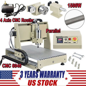 Diy 6040 Cnc Router Kit 4 Axis 1500w Pcb Wood Carving Milling Engraving Machine