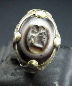 Ancient Roman Eye Agate King Face Intaglio Signet Intaglio Sterling Silver Ring