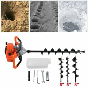 52cc Petrol Earth Auger 2hp Post Hole Borer Ground Drill W 3 Bit Extension Mg