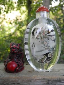 Chinese Reverse Painted Glass Snuff Bottle Vintage Free Doll